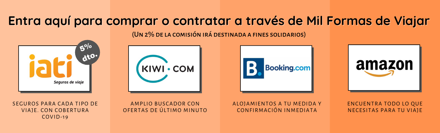 Banner que publicita IATI, KIWI, BOOKING y AMAZON